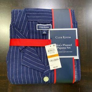 Club Room Men's Blue Flannel Pajama Set Striped